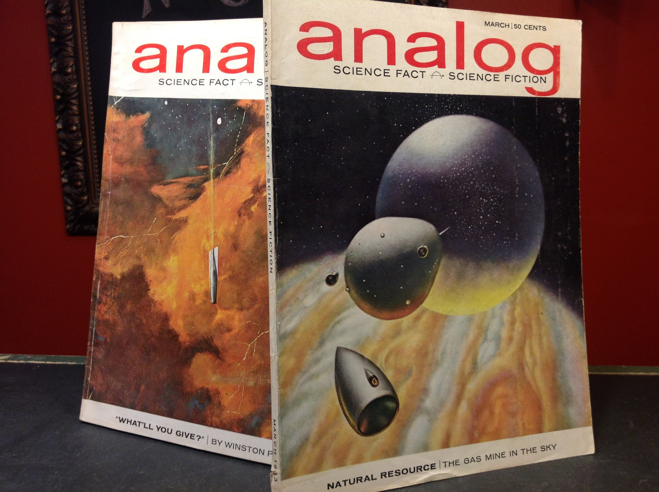 Analog - 1963 March and April issues of Analog: Science Fact and Science Fiction. Just 2 of our large science fiction journal collection.
