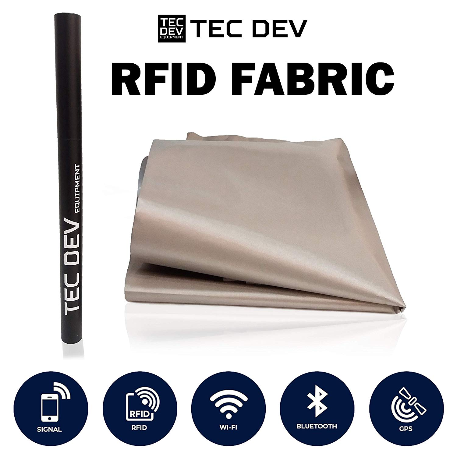 "RF Faraday Fabric, EMF Shield, Blocker, Faraday Cage, RFID, Conductive Shielding - Military Grade to Block EMI, WiFi, Cell Phone, Bluetooth, 45"" x 43"" /13sq. ft./1.47 Sq. Yds. + 45""L Conductive Tape"