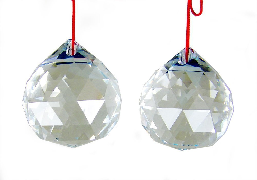 Amlong Crystal 50mm Clear Suncatcher Crystal Ball Prisms Feng Shui X 2Pcs With Gift Box - High Quality Clear Faceted Crystal Feng Shui Ball 50mm, about 2