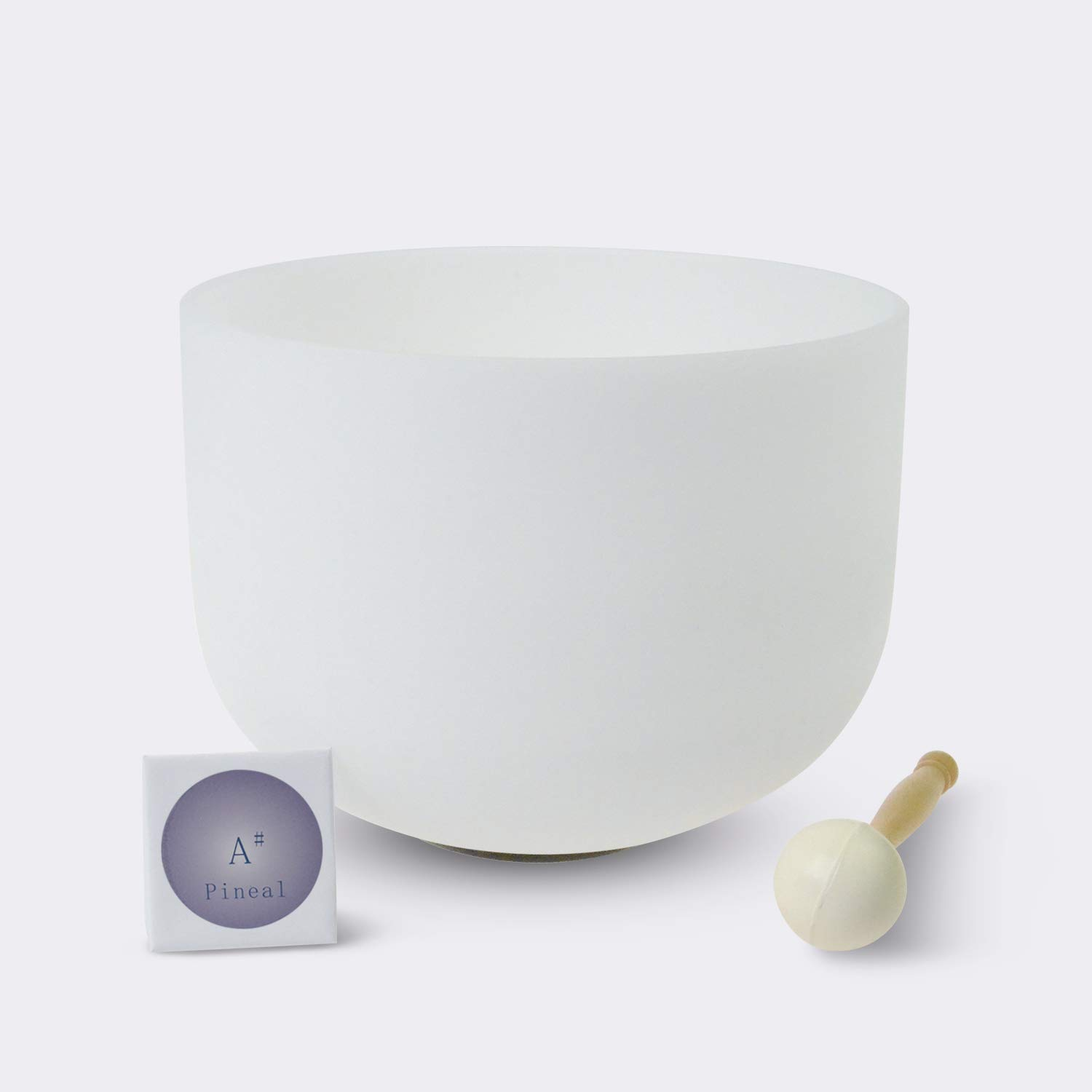 #6 THIRD EYE PINEAL A Note Crystal Singing Bowl - O-Ring and Rubber Mallet Included. American quartz made crystal singing bowls,The highest quality standards and the best quality crystal singing bowls in the world made by TOPFUND
