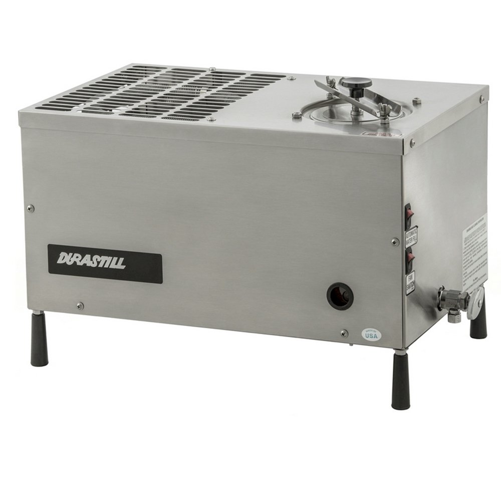 Durastill 12 Gallon per day Manual-Fill Water Distiller - Durastill 12 Gallons per Day, Manual Water Distiller. Shuts off automatically as the boiler nears empty.Distilled water can be collected a container of your choice. Made in USA.