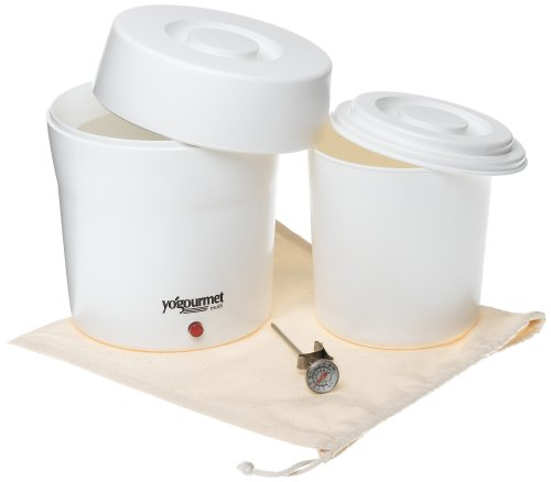 Yogourmet 104 Electric Yogurt Maker - Specially designed to maintain the ideal temperature required for preparing healthy, natural and perfect yogurt every time. Has dishwasher-safe inner container with seal-tight lid, to keep your yogurt fresh. Comes with instructions, and a simple thermometer