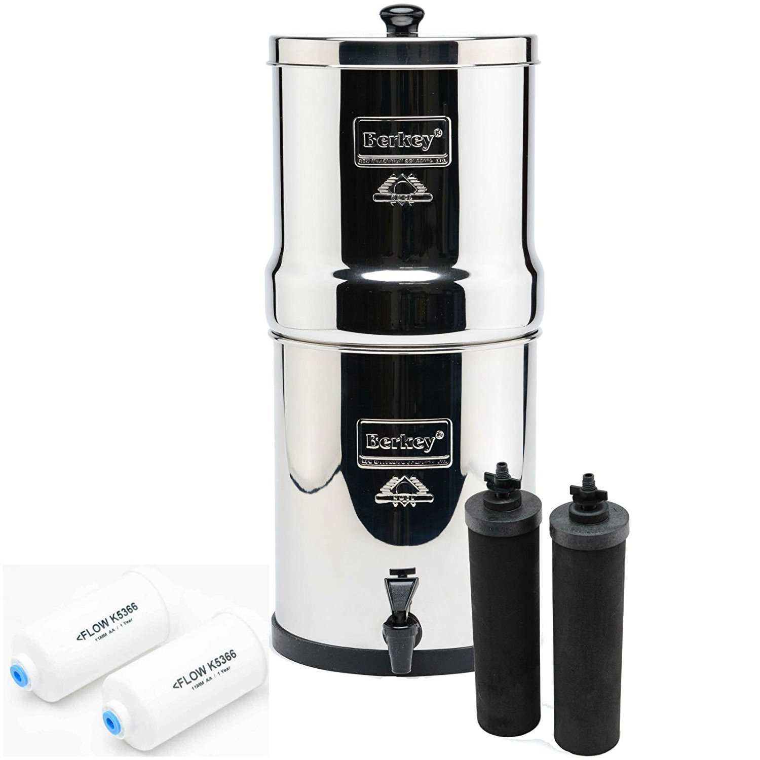 IMP6X2-BB Imperial Berkey with 2 Black Filters and 2 Flouride Filters - Holds 4.5 gallons of purified water and filters up to 5.5 gallons per hour (running with the 2 included filters)The Imperial is made with High Grade 304 Stainless Steel and measures 10