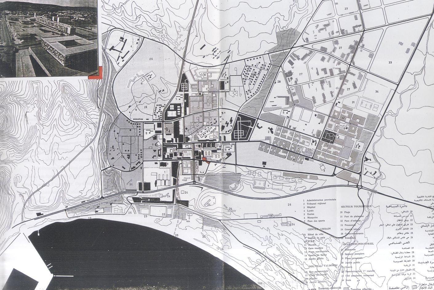 Plan d'aménagement de la ville d'Agadir - Haut commissariat de la Reconstruction  © Amush