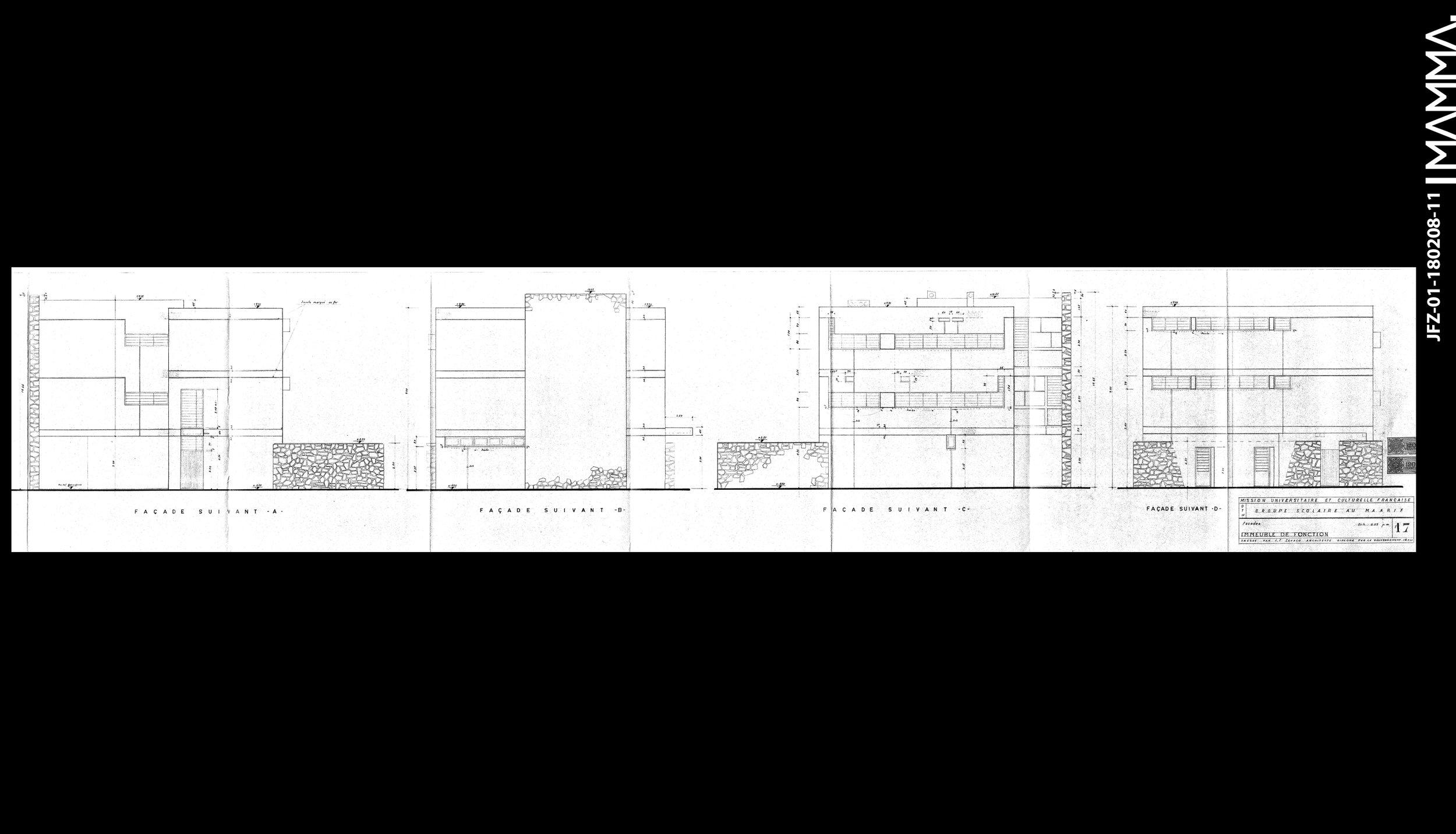 1960-Groupe Scolaire au Maarif (Ecole Théophile Gauthier)   Agence: Jean François Zevaco  Contenu: Façade Immeuble de fonction  Dimensions: 162,2 x 31,2 cm  © MAMMAARCHIVE   Réf: MAMMA- JFZ-01-180208-11