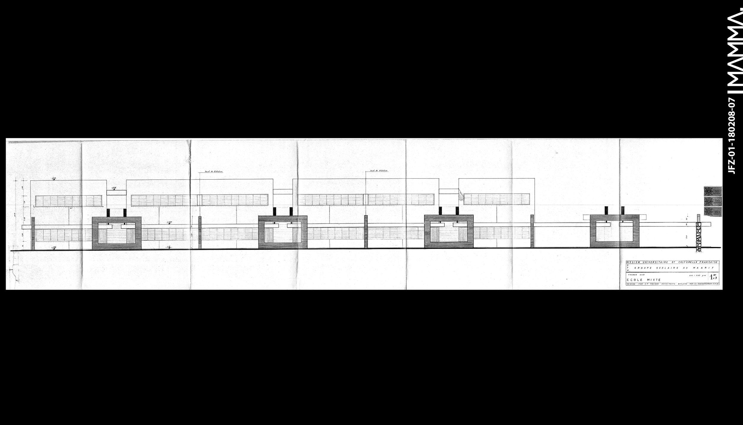 1960-Groupe Scolaire au Maarif (Ecole Théophile Gauthier)   Agence: Jean François Zevaco  Contenu: Façade Sud  Dimensions: 147,7 x 31 cm  © MAMMAARCHIVE   Réf:  MAMMA-JFZ-01-180208-07