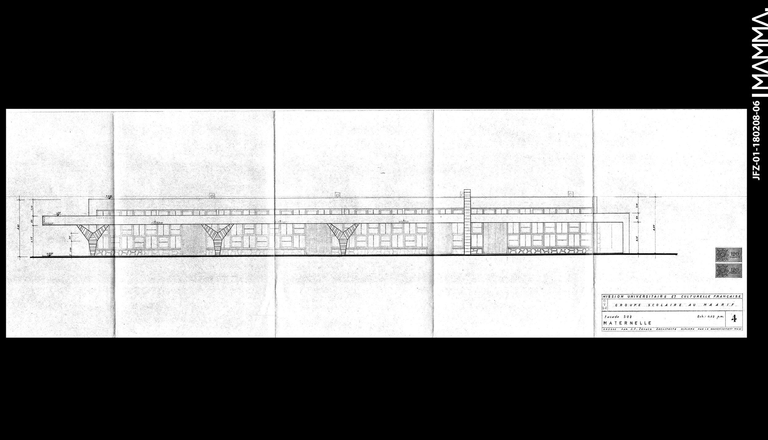 1960-Groupe Scolaire au Maarif (Ecole Théophile Gauthier)   Agence: Jean François Zevaco  Contenu: Façade Sud - Maternelle  Dimensions: 103,5 x 31 cm  © MAMMAARCHIVE   Réf:  MAMMA-JFZ-01-180208-06