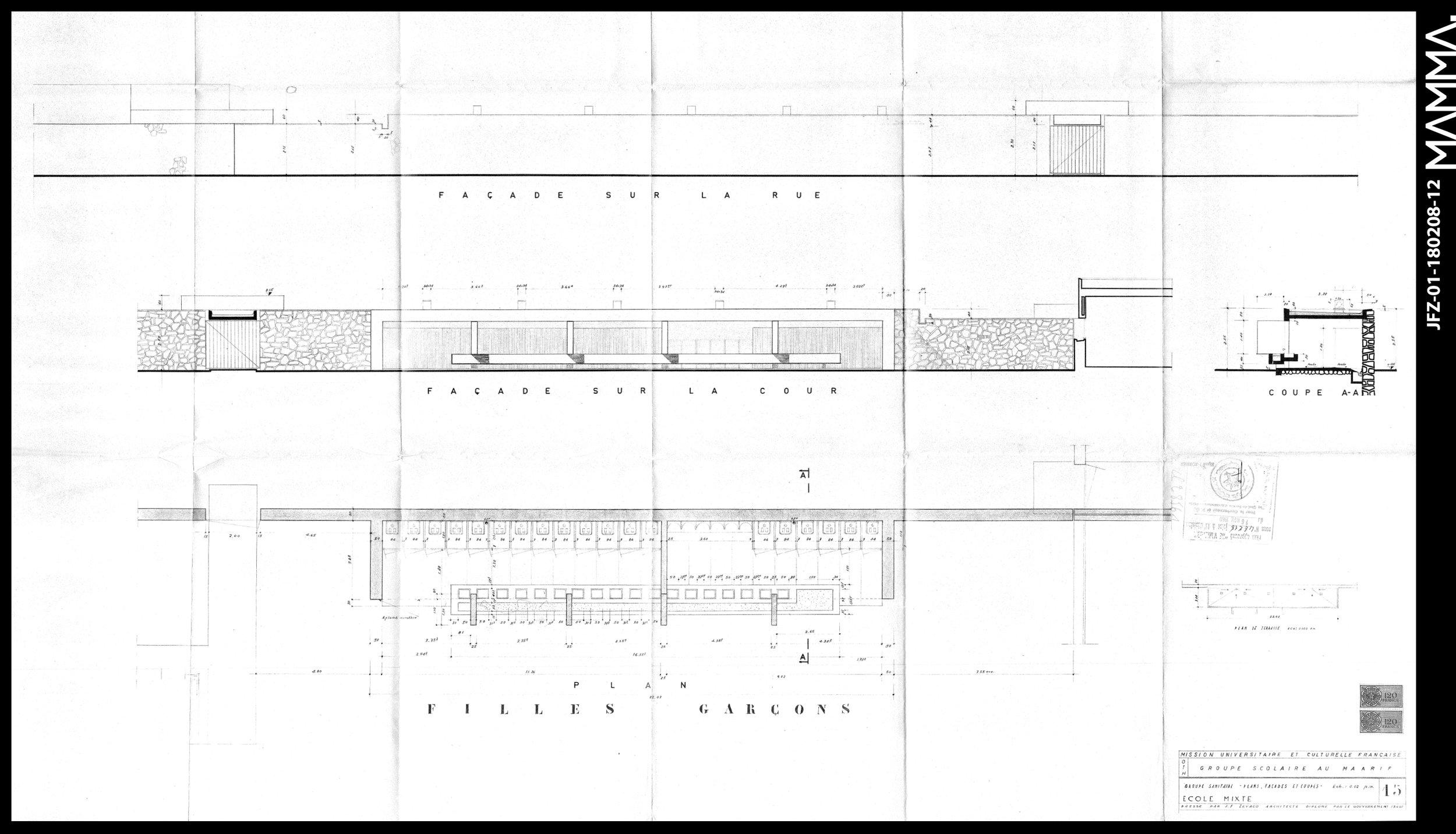 1960-Groupe Scolaire au Maarif (Ecole Théophile Gauthier)   Agence: Jean François Zevaco  Contenu: Plan, Façade, Coupe - Groupe Sanitaires  Dimensions: 120,6 x 70,6 cm  © MAMMAARCHIVE   Réf: MAMMA-JFZ-01-180208-12