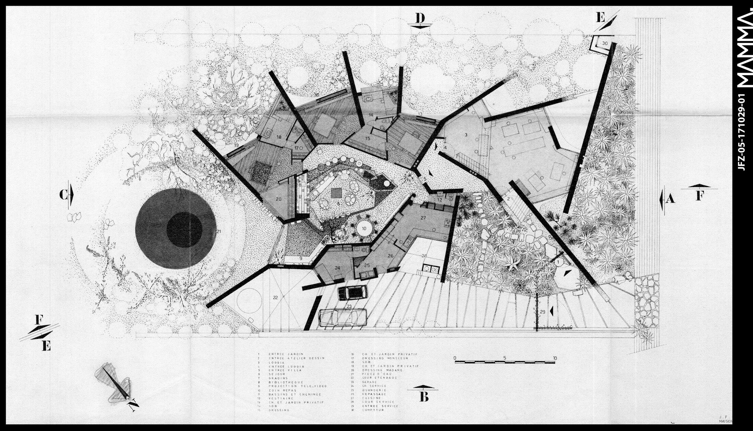 1975-Villa et Atelier de Jean François Zevaco   Agence: Jean François Zevaco  Contenu: Plan  Dimensions: 84,6 x 42 cm  © MAMMAARCHIVE - Donation de M. El Arrouchi   Réf: MAMMA-JFZ-05-171029-01