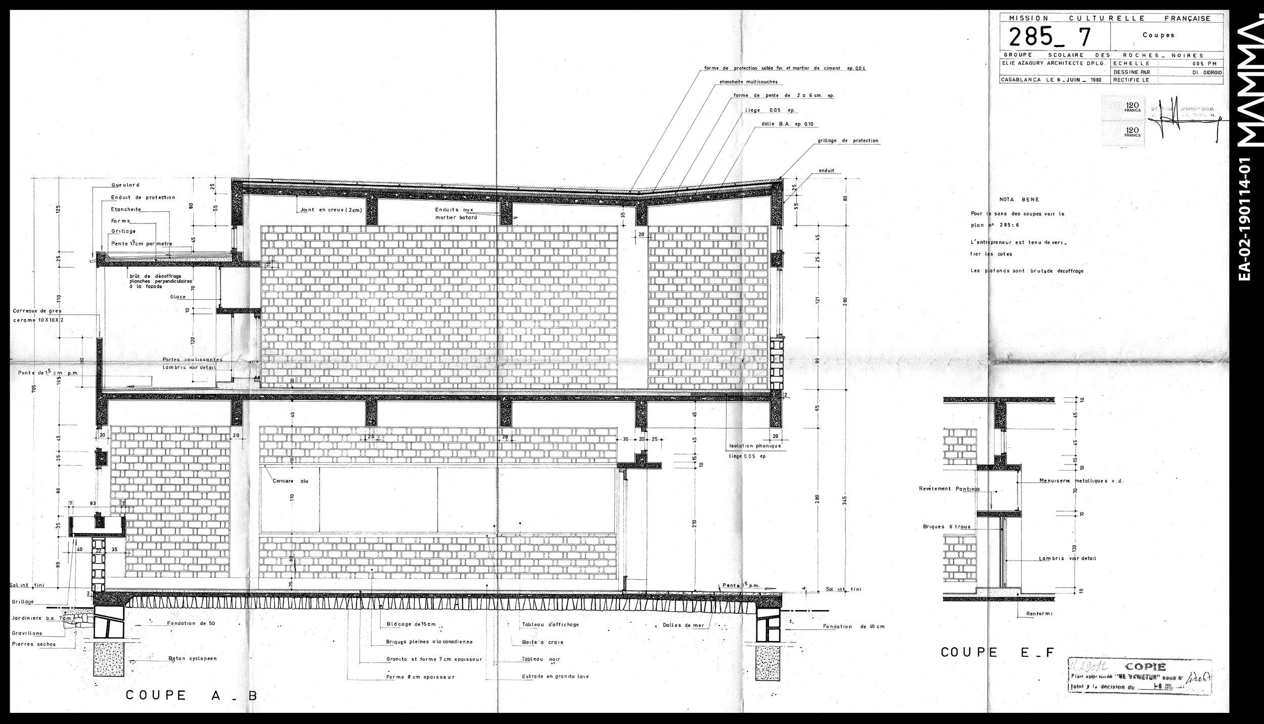 1960-Groupe Scolaire Roches Noires   Agence: Elie Azagury  Contenu: Coupe  Dimensions: 104,9 x 61,7cm      © MAMMAARCHIVE   Réf: MAMMA-EA-02-190114-01