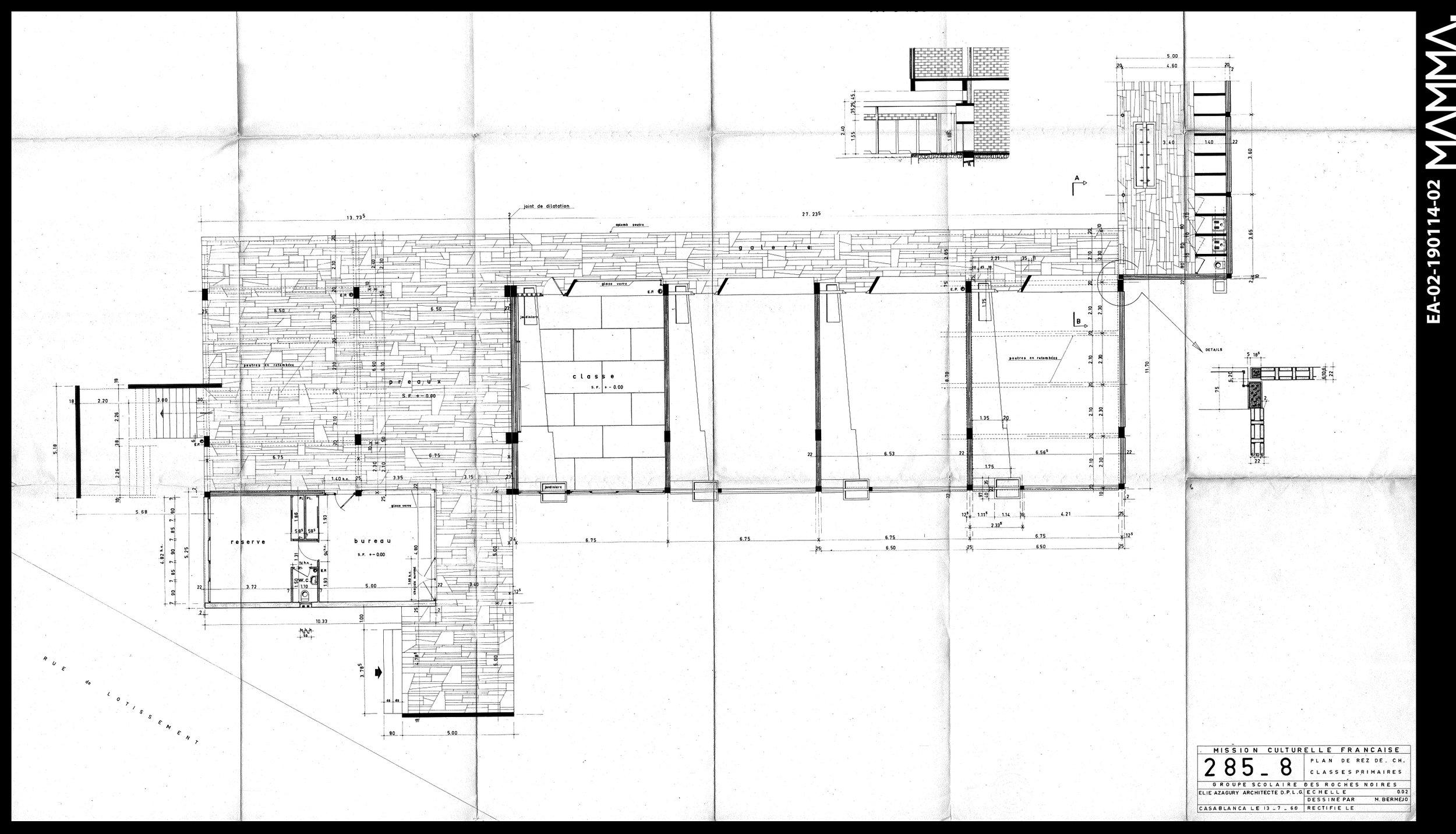 1960-Groupe Scolaire Roches Noires   Agence: Elie Azagury  Contenu: Plan RDC des classes primaires  Dimensions: 126,5 x 77,3 cm  © MAMMAARCHIVE   Réf:  MAMMA-EA-02-190114-02