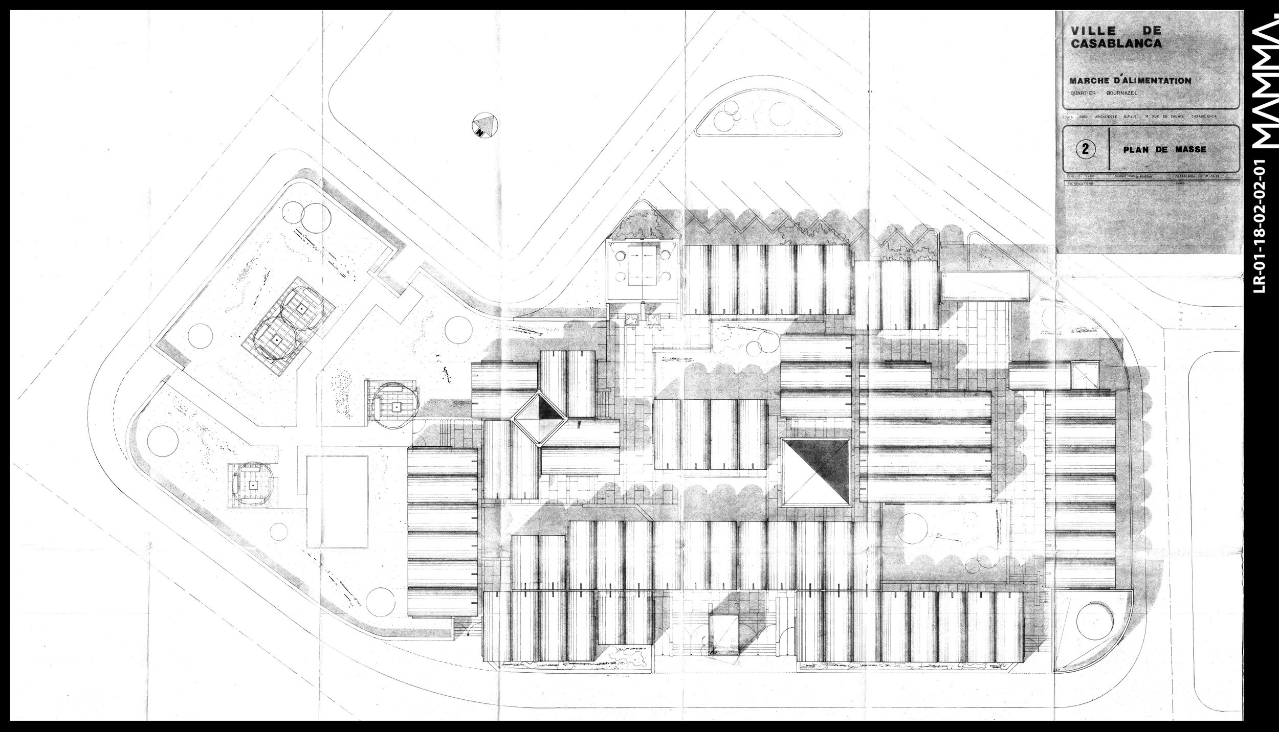 1973-Marché d'alimentation - quartier Bournazel à Casablanca   Agence: Louis Riou  Contenu: Plan masse  Dimensions: 139,9 x 91,4 cm       © MAMMAARCHIVE   Réf: MAMMA- LR-01-18-02-02-01