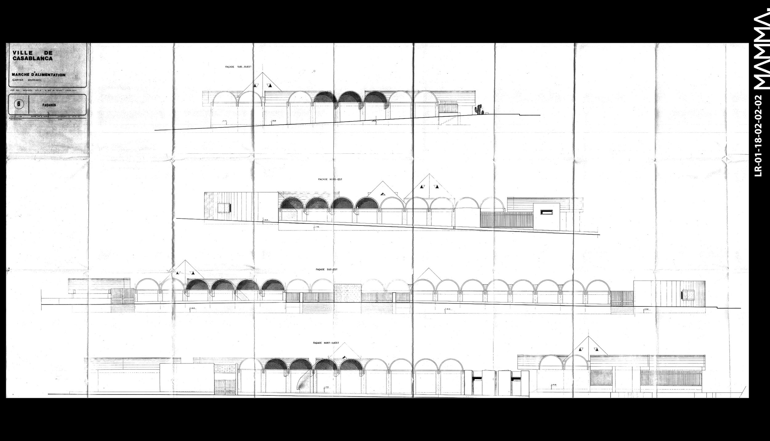 1973-Marché d'alimentation - quartier Bournazel à Casablanca   Agence: Louis Riou  Contenu: Façades  Dimensions: 195,7 x 91,4 cm      © MAMMAARCHIVE   Réf: MAMMA- LR-01-18-02-02-02