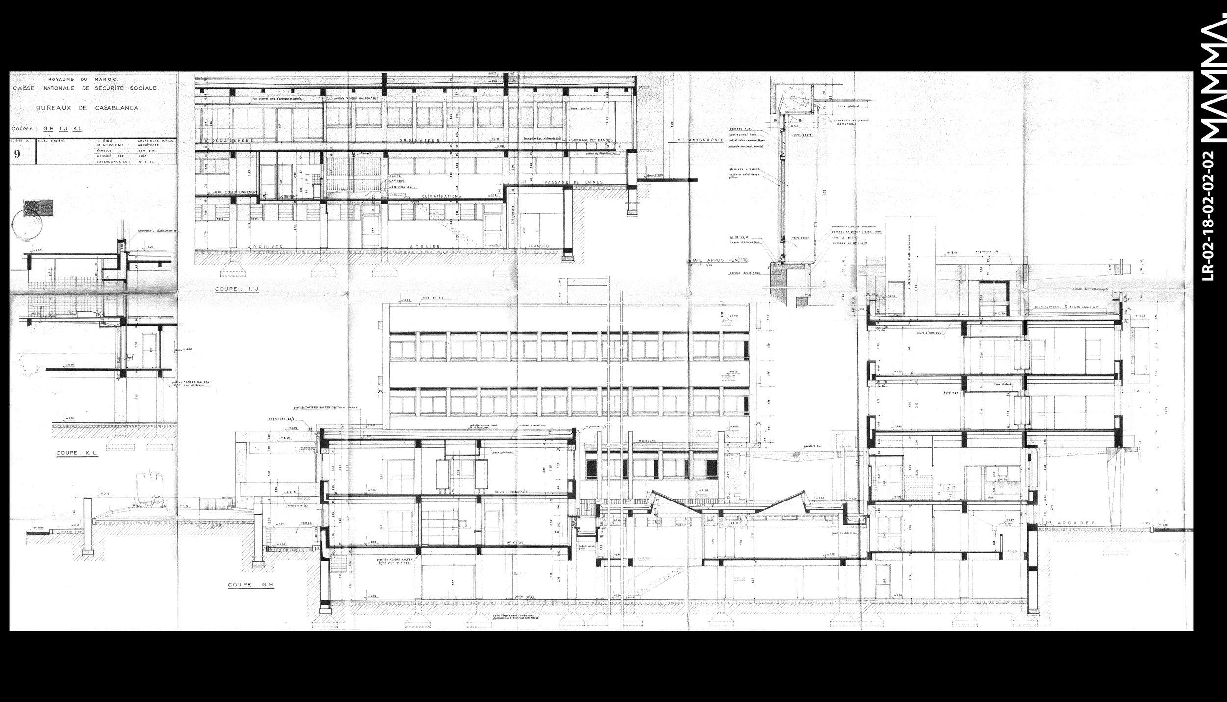 1963-Caisse National de Sécurité Social (CNSS) à Casablanca   Agence: L. Riou - M. Rousseau  Contenu: Coupes  Dimensions: 146,4 x 67,8 cm      © MAMMAARCHIVE   Réf: MAMMA- LR-02-18-02-02-02