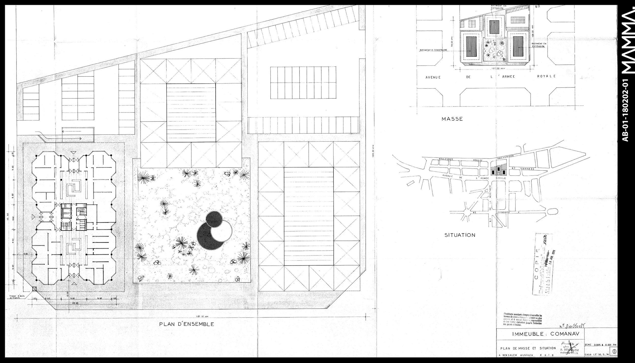 1974-La COMANAV   Agence: Abdelkader Abdeslem  Contenu: Plan de situation, plan masse, plan RDC  Dimensions: 106,95 x 77 cm      © MAMMAARCHIVE   Réf: MAMMA- AB-01-180202-01