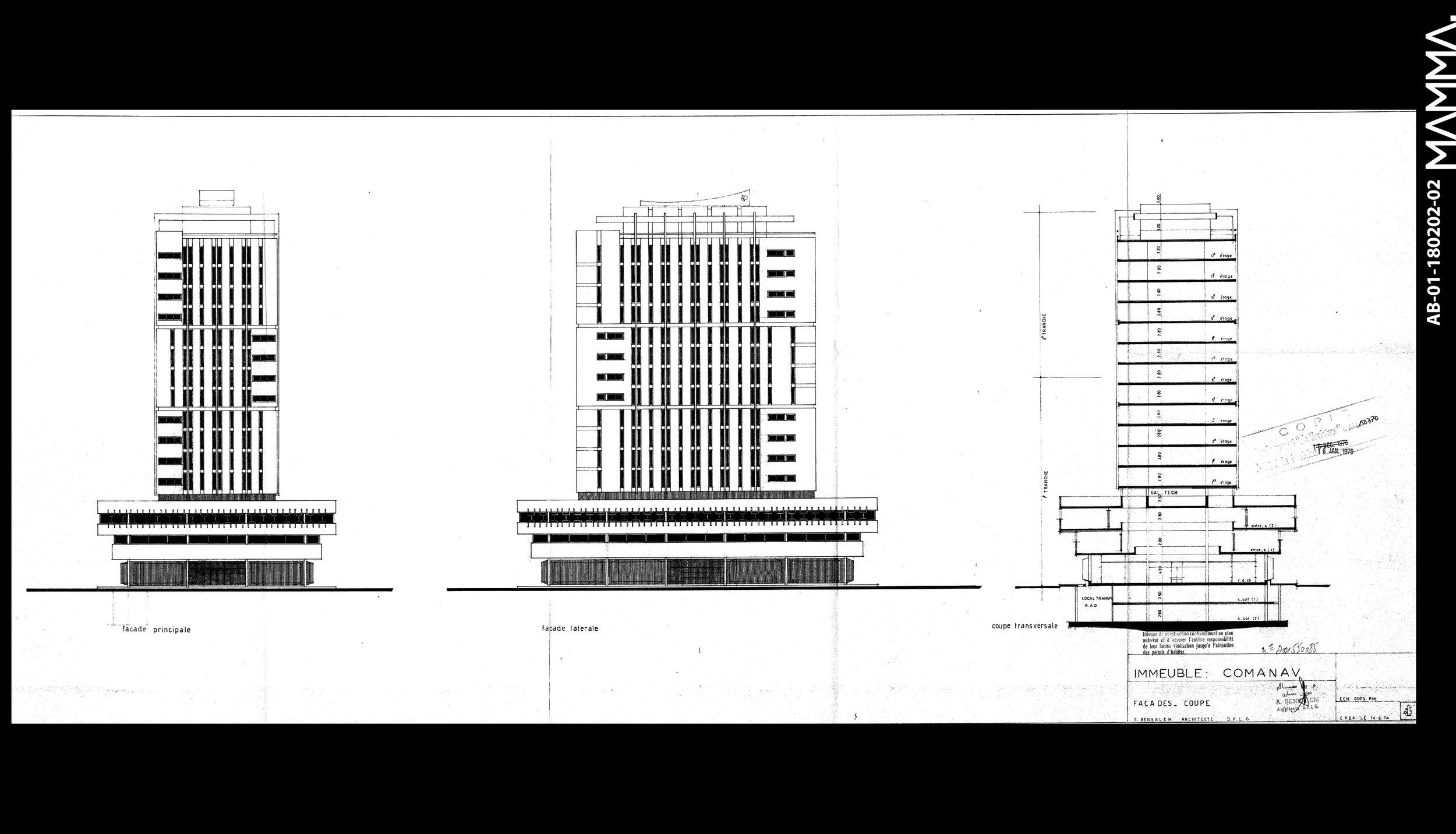 1974-La COMANAV   Agence: Abdelkader Abdeslem  Contenu: Coupe, Façades  Dimensions: 103,81 x 44,7 cm      © MAMMAARCHIVE   Réf: MAMMA- AB-01-180202-02