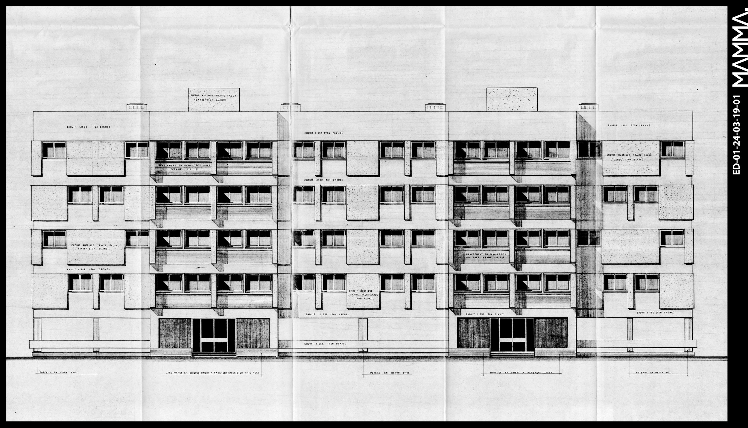 1972-2 Immeubles de 16 Logements- ONCF à Casablanca   Agence: Emile Duhon  Contenu: Façade principale  Dimensions: 126,5 x 66,24 cm  © MAMMAARCHIVE   Réf: MAMMA-  ED-01-24-03-19-01