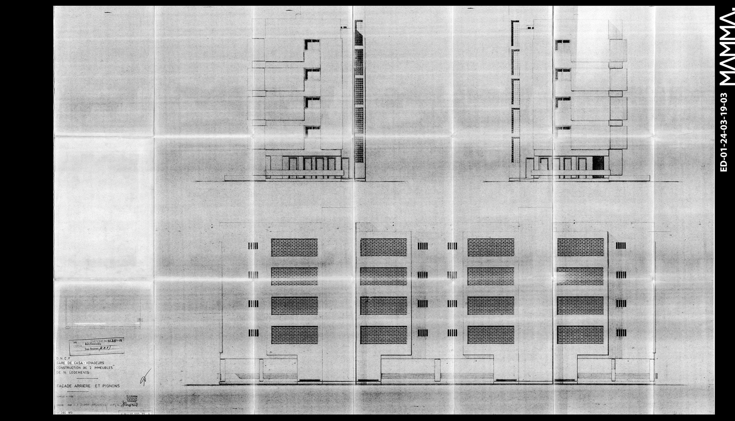 1972-2 Immeubles de 16 Logements- ONCF à Casablanca   Agence: Emile Duhon  Contenu: Façade arrière et pignons  Dimensions: 140,28 x 88,87 cm  © MAMMAARCHIVE   Réf: MAMMA-  ED-01-24-03-19-02