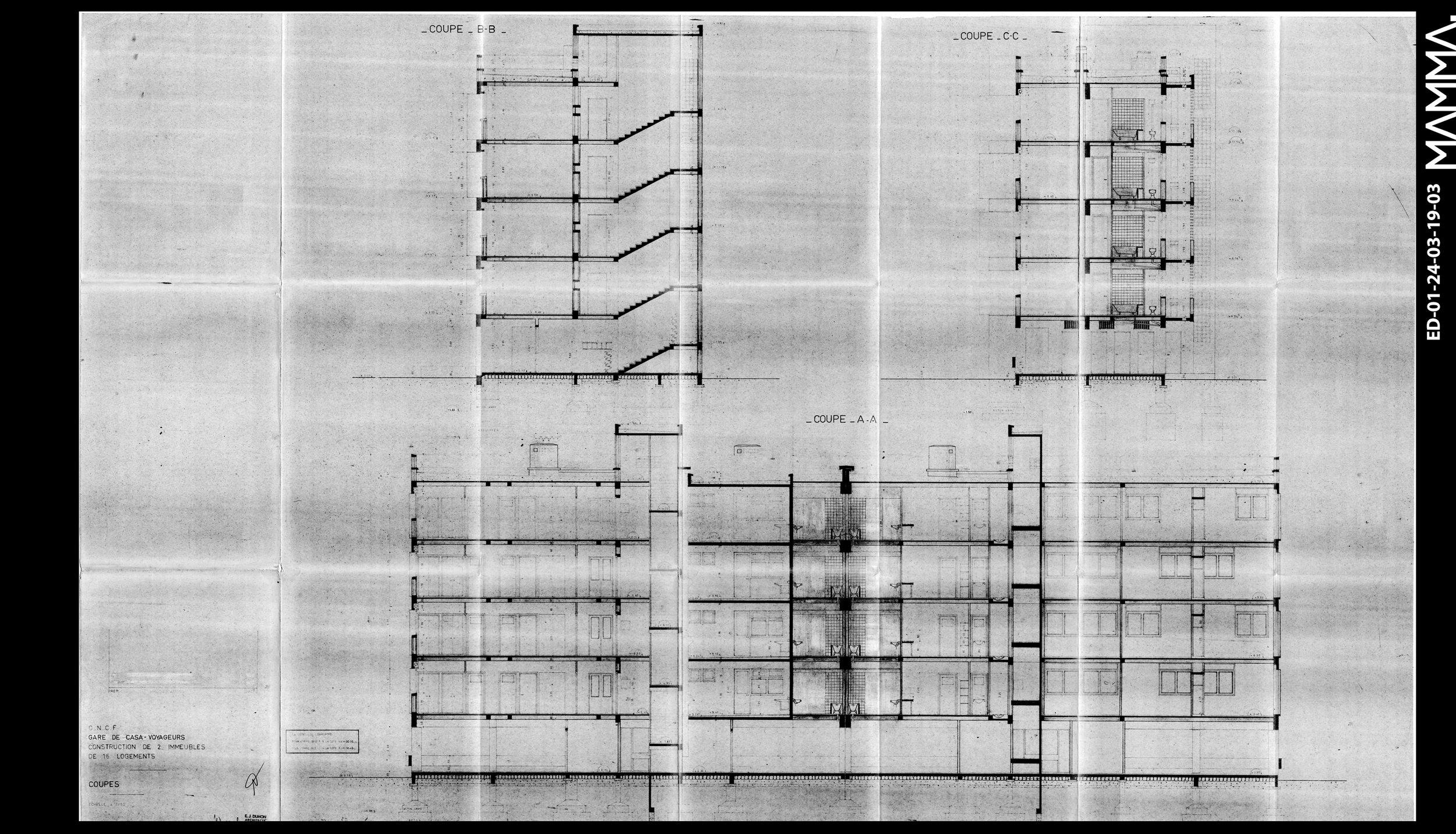 1972-2 Immeubles de 16 Logements- ONCF à Casablanca   Agence: Emile Duhon  Contenu: Coupes  Dimensions: 142 x 89,54 cm  © MAMMAARCHIVE   Réf: MAMMA-  ED-01-24-03-19-03