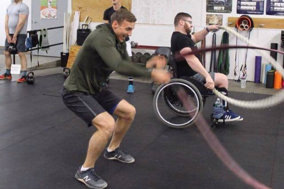 Training with my man Stefon, captain of the Stride Wounded Warriors Sled Hockey Team.