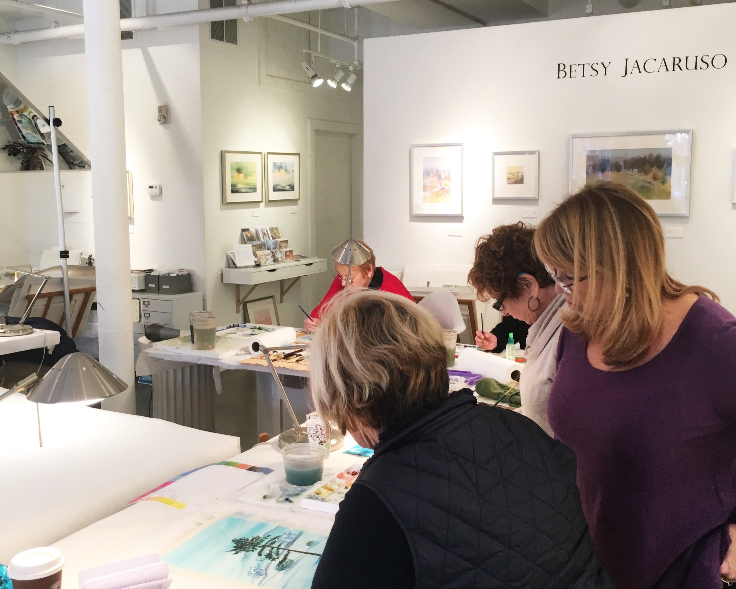 Mixed Level watercolor with Betsy Jacaruso - Relaxed group atmosphere with a focus on learning watercolor techniques while developing and cultivating a personal style. Mixed-level watercolor classes are ongoing. Some experience required or completion of beginner class.