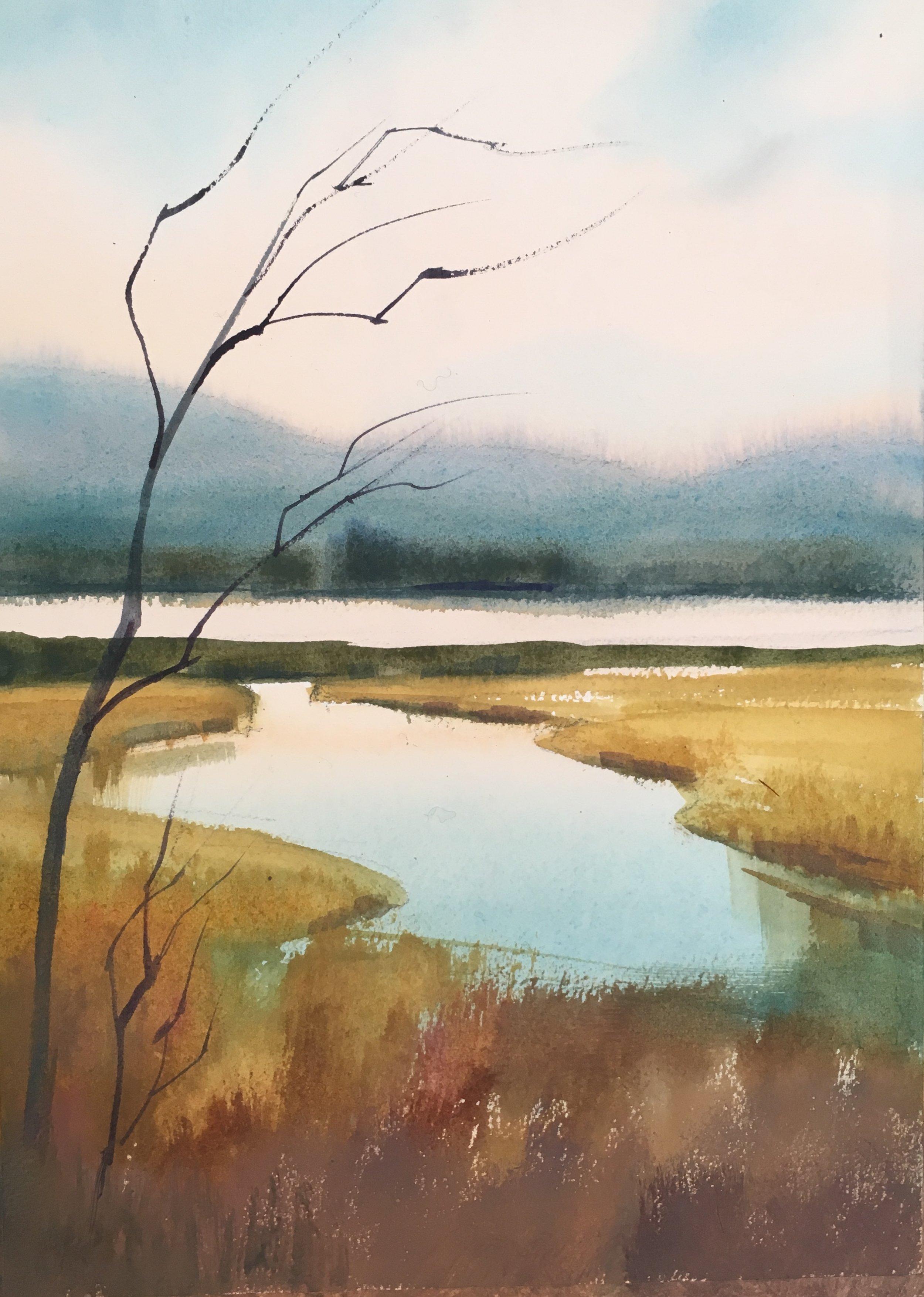 """Betsy Jacaruso, watercolor, 10.25""""x14"""""""