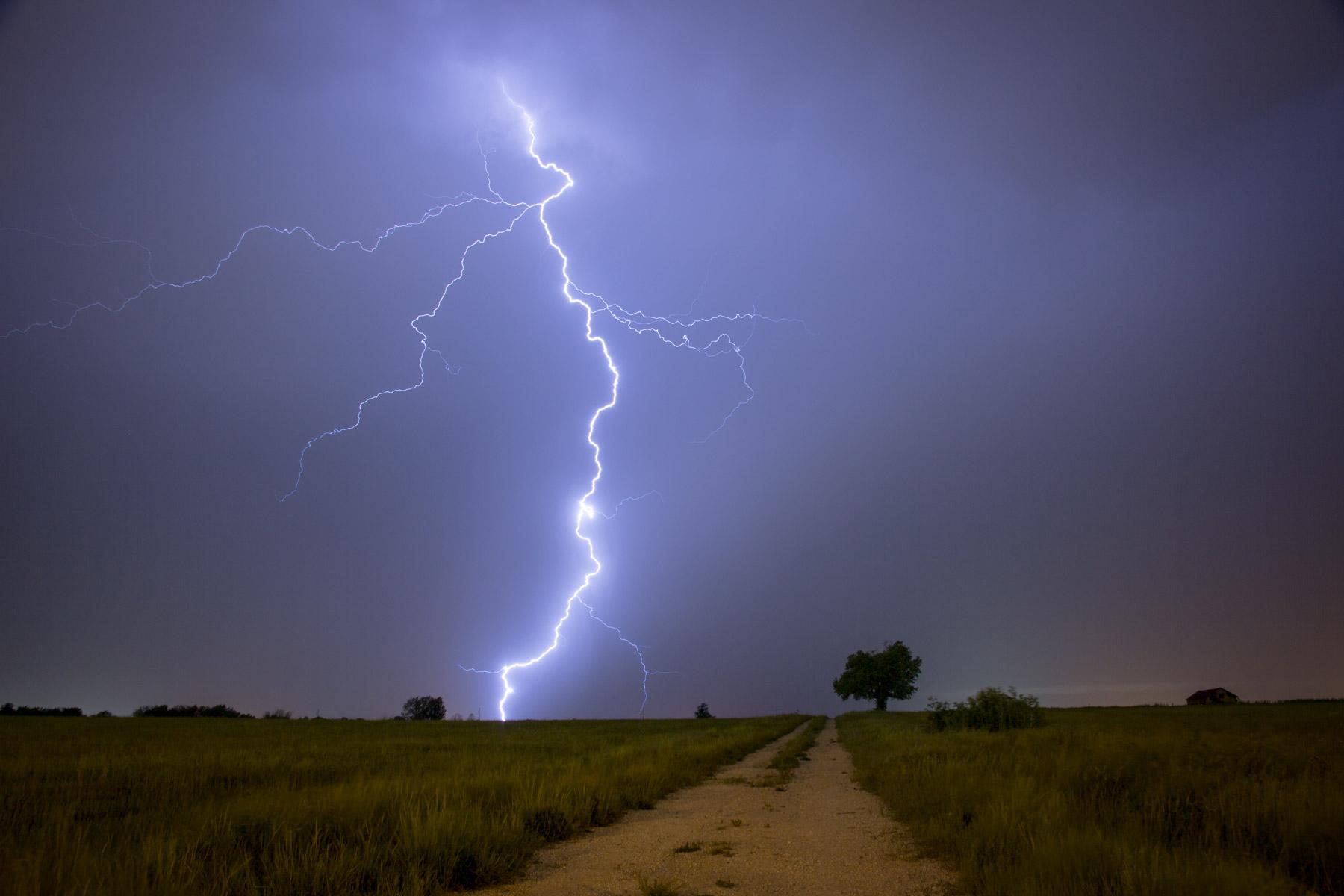 Lightning strikes in the dark