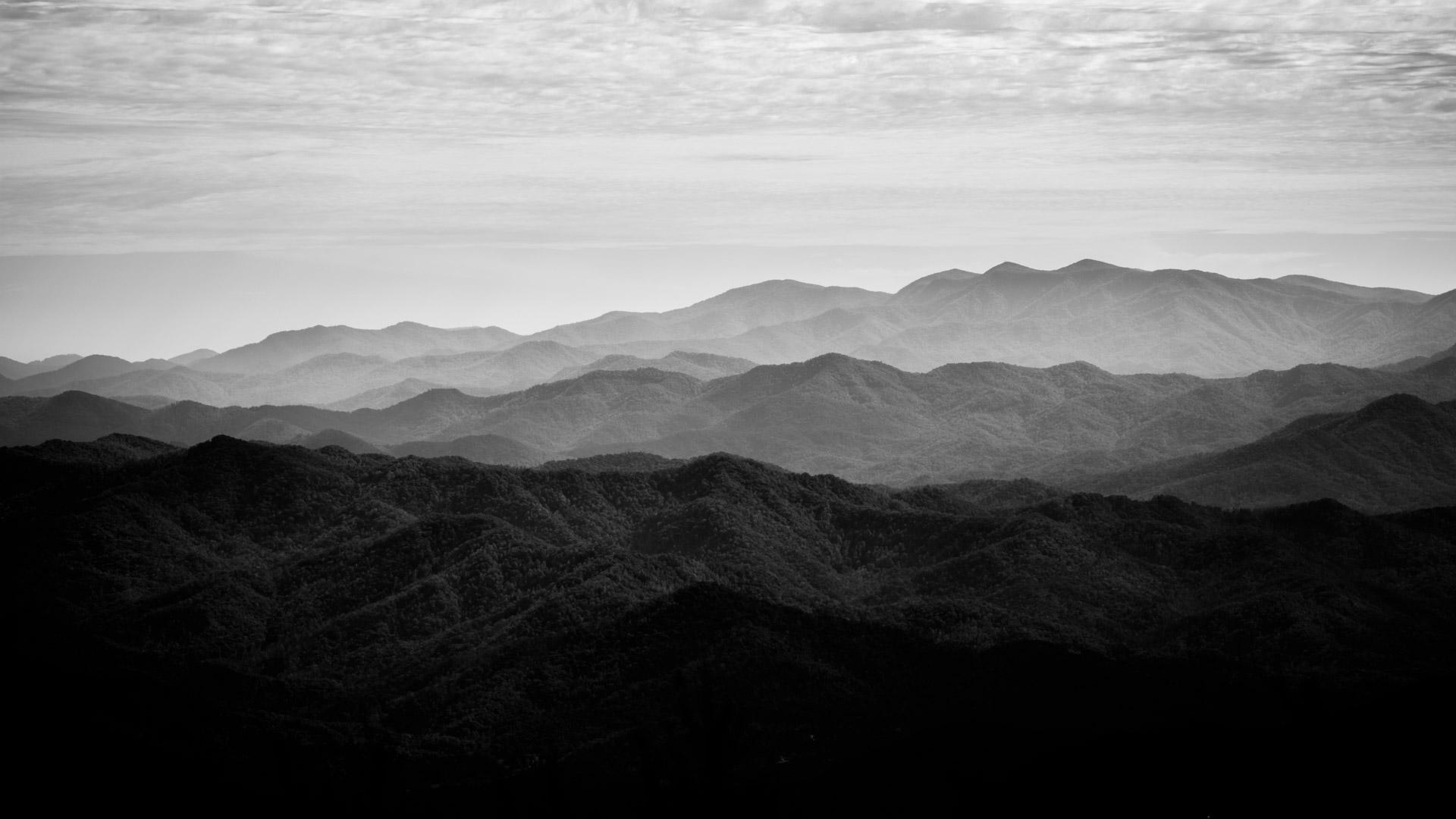 Black and white Ozark Mountains