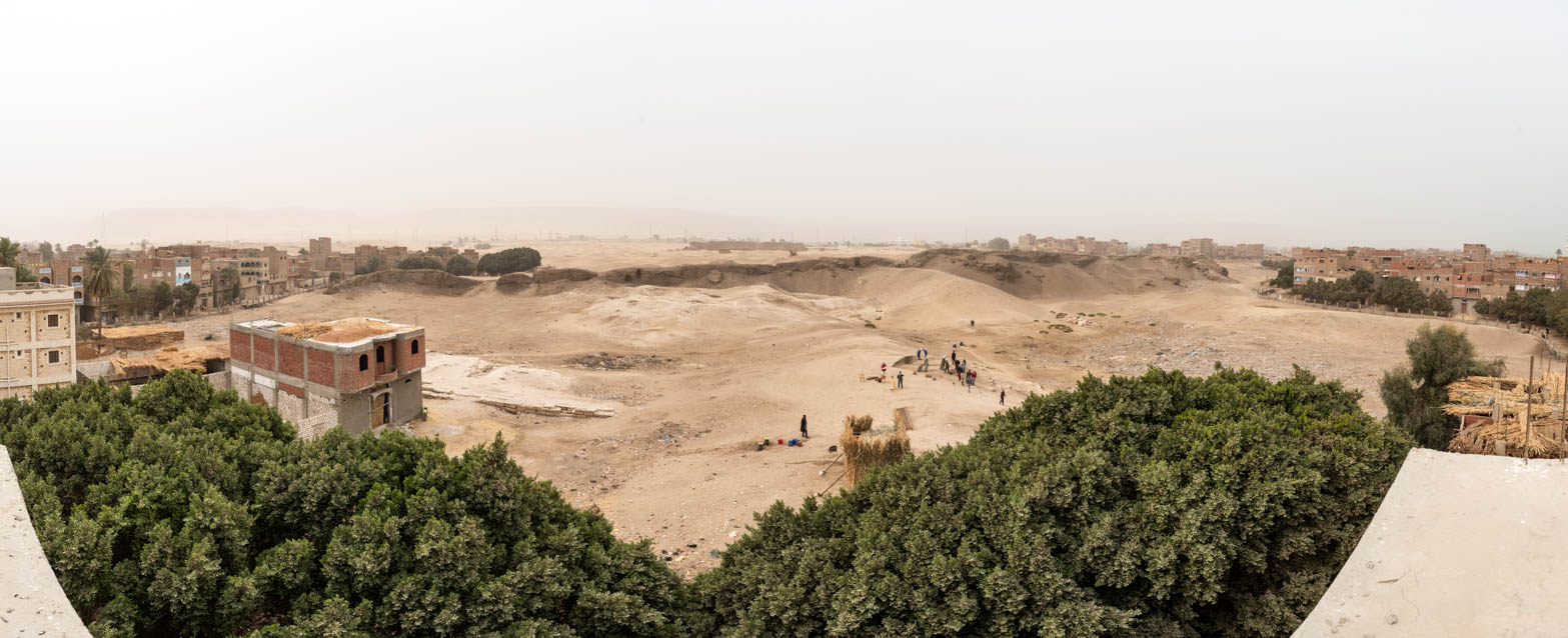 Fig. 5. Panoramic view of the site of the once massive pylon of the Temple of Osiris, looking southwest from Beni Mansour. Photo: Ayman Damarany / North Abydos Expedition © 2019