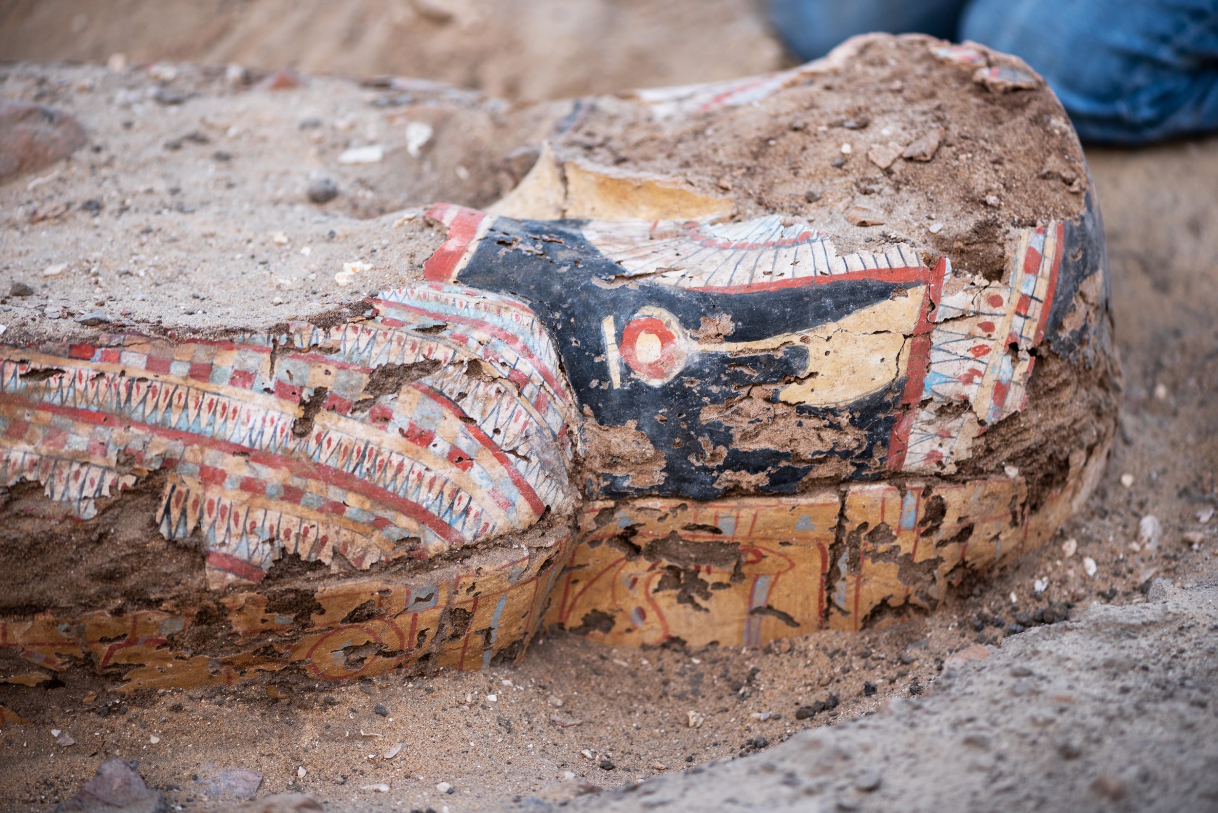 Fig. 3. Painted coffin of the late Ramesside or Third Intermediate Period found just outside the east corner gateway of the Shunet el-Zebib earlier this week. This elaborate burial is exceptional for the quality of its painted decoration, but even more for having survived at all — the wood of the original coffin has been completely devoured by insects, leaving behind only the extremely fragile painted surface of a once extraordinarily fine coffin to be documented, admired, and preserved. Photo: Ayman Damarany / North Abydos Expedition © 2019