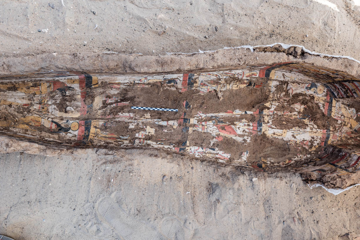 Fig. 17. Interior view of the coffin after documentation and removal of the skeletal remains for scientific analysis in the Expedition's bioarchaeology collections lab. Photo: Ayman Damarany / North Abydos Expedition © 2019