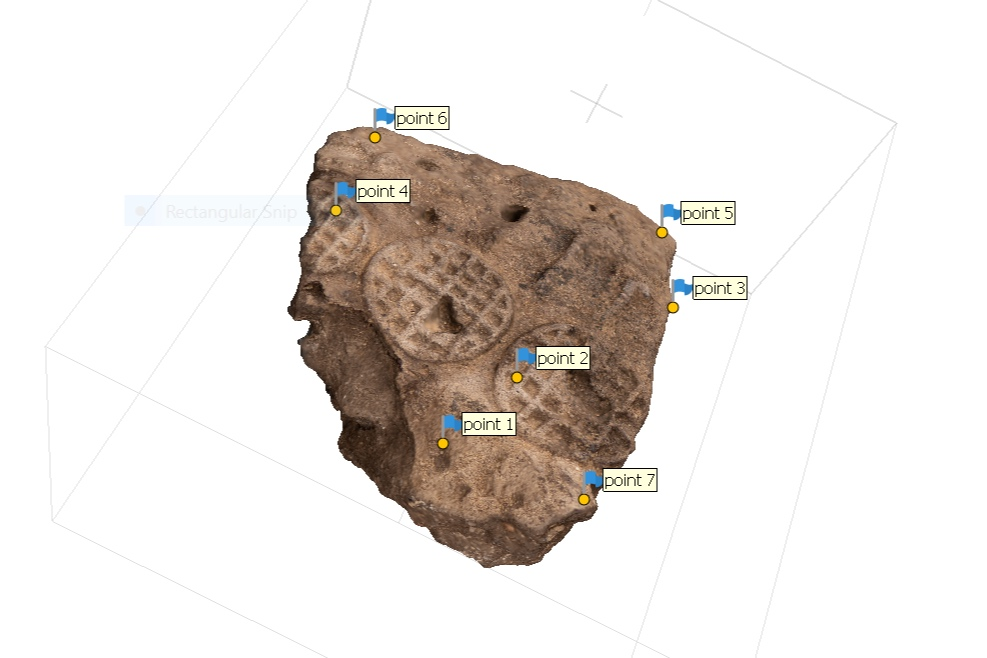 Fig. 12. 3D modeling of an Early Dynastic seal impression from the Abydos North Cemetery, front view in process. Photo: Blair Simmons / North Abydos Expedition © 2019