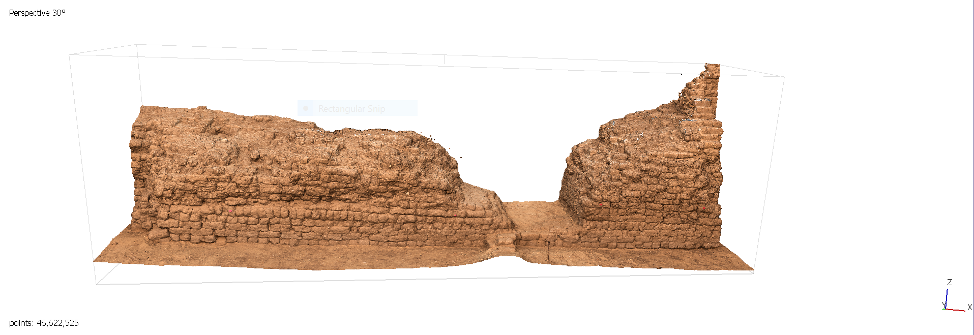 Fig. 16. Architectural modeling of the east corner gateway of the Shunet el-Zebib — step three, dense cloud image. Photo: Blair Simmons / North Abydos Expedition © 2019