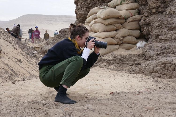 Fig. 7. 3D specialist Blair Simmons photographing the east corner gateway at the Shunet el-Zebib. Photo: Kay Barnett / North Abydos Expedition © 2019