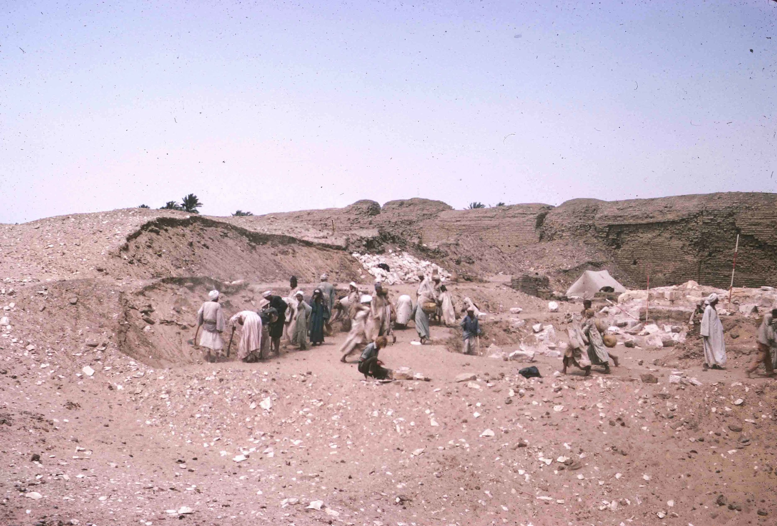 "Fig. 5. View of the Penn-Yale excavations at the ""Portal"" Temple in 1967, looking east toward the ancient enclosure wall. Photo: David O'Connor © North Abydos Expedition (formerly Penn-Yale-IFA), courtesy of the Penn Museum."