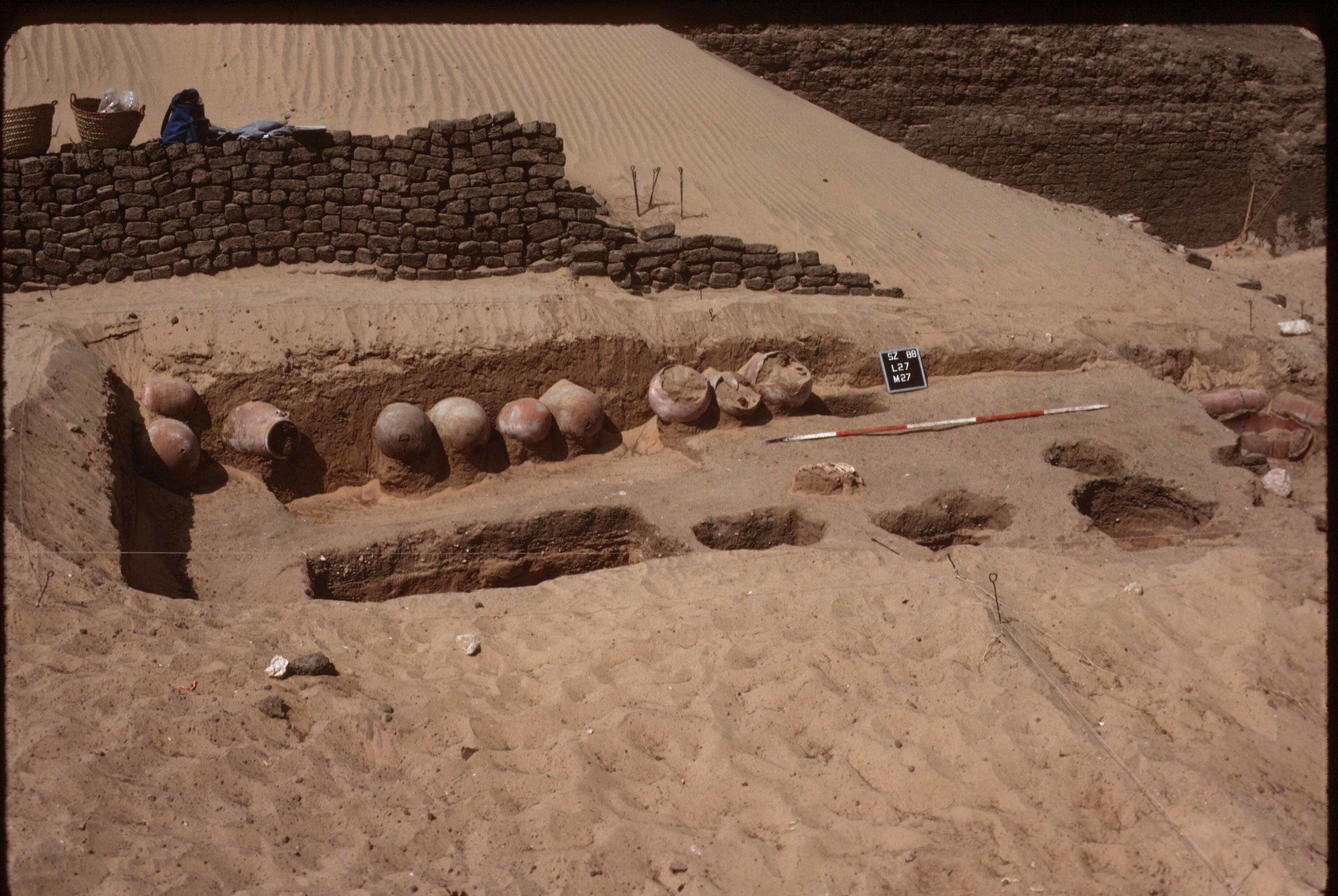 Fig. 3. Excavation detail inside the Shunet el-Zebib, showing ibis burial jars and burial pits. Photo: David O'Connor © North Abydos Expedition (formerly Penn-Yale-IFA), courtesy of the Penn Museum