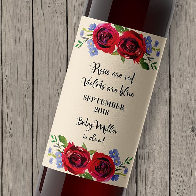 Valentine's pregnancy announcement with the classic 'Roses are red, violets are blue'. ❤️🍷