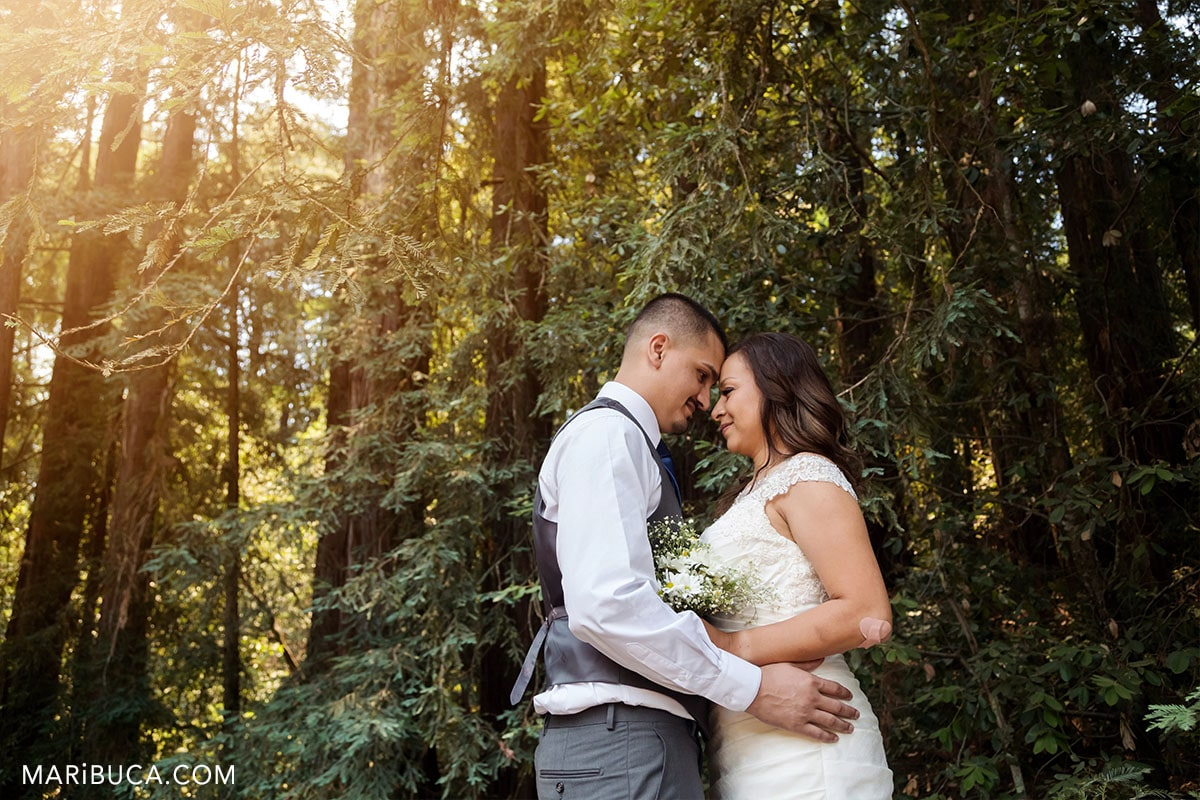 sunset time for newlyweds couple in the Watsonville California