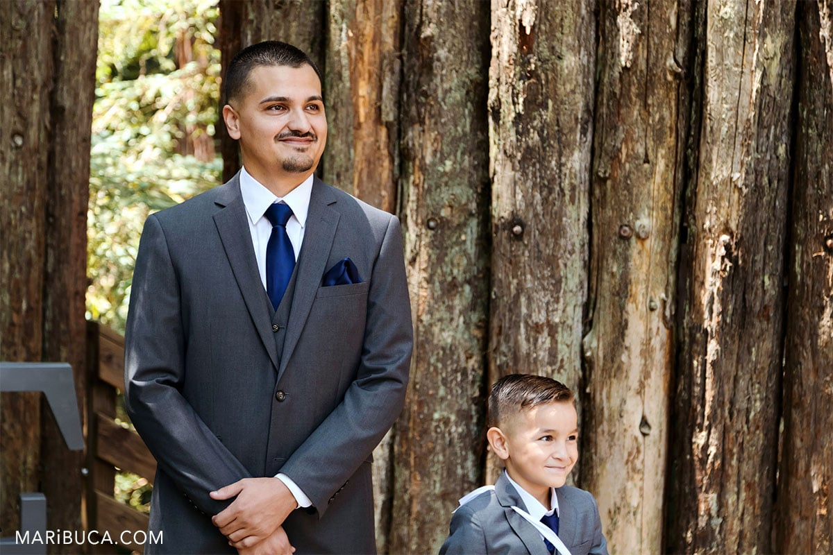 groom and their son expecting the bride.