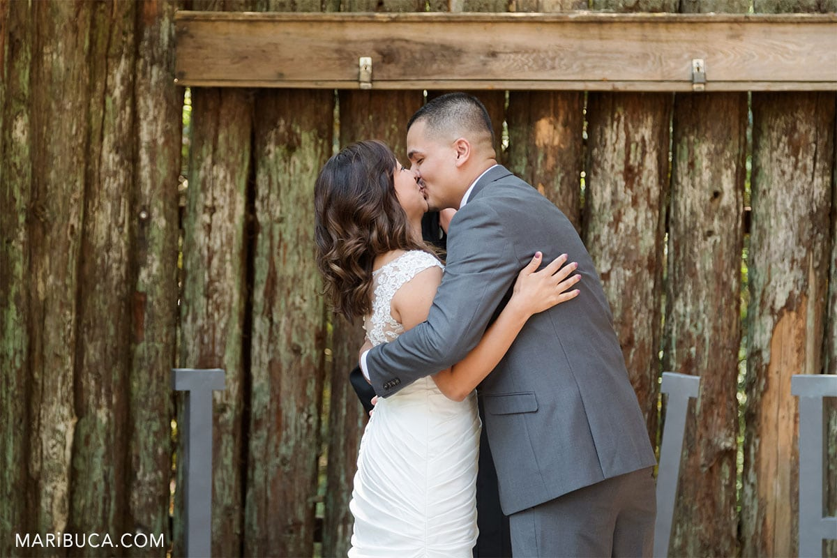 first kiss after wedding ceremony in the Santa Clara County Parks