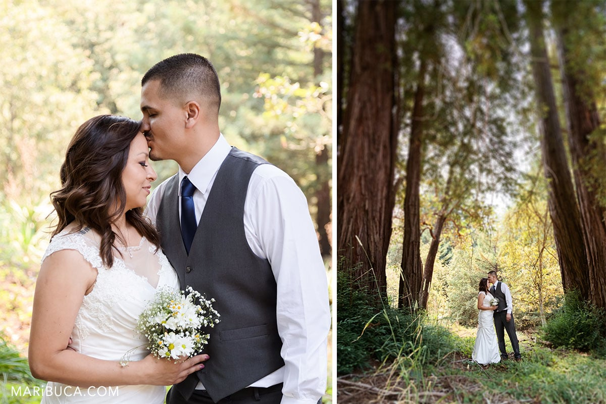 High pinces in the Watsonville park and newlyweds couple as the main object in the pictures.