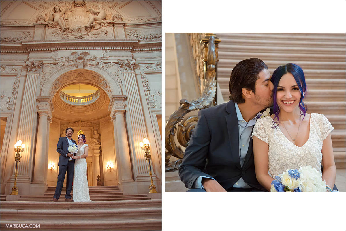 The bride and groom on the background of beautiful architecture in San Francisco City Hall