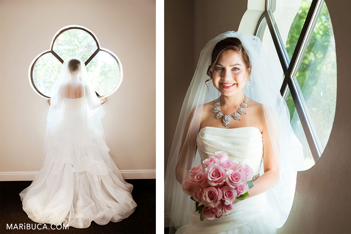 The bride ready to see her handsome future husband. Amazing white wedding dress.