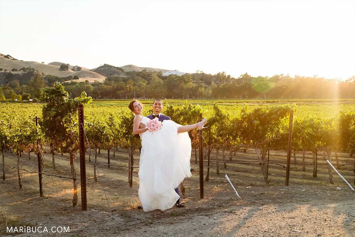 Fantastic emotions from newlywed couple during sunset time in the Livermore.