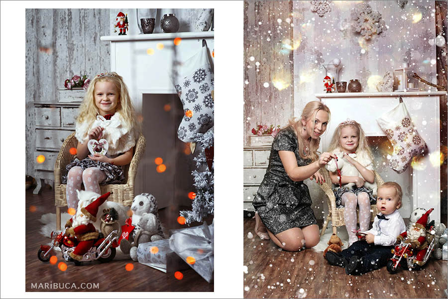Christmas photo session of the mother, daughter and young son in the winter mood and them.