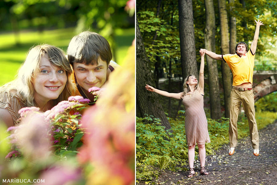 Photo session of maternity where the Happy couple enjoy their lives, jump and expect their first child.