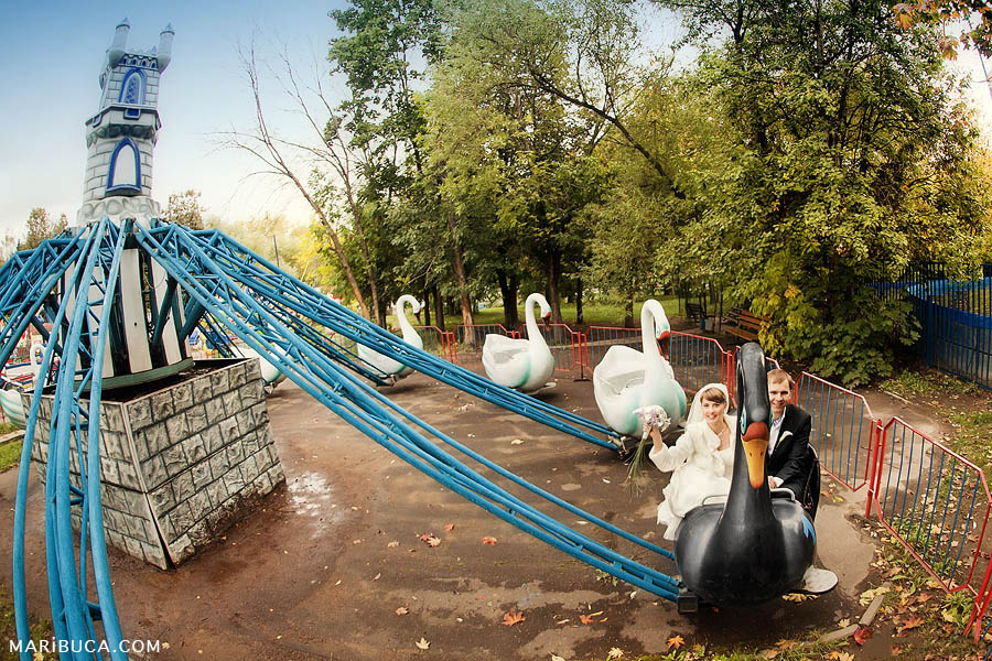 the bride and groom in the amusement park ride the swans on their wedding day