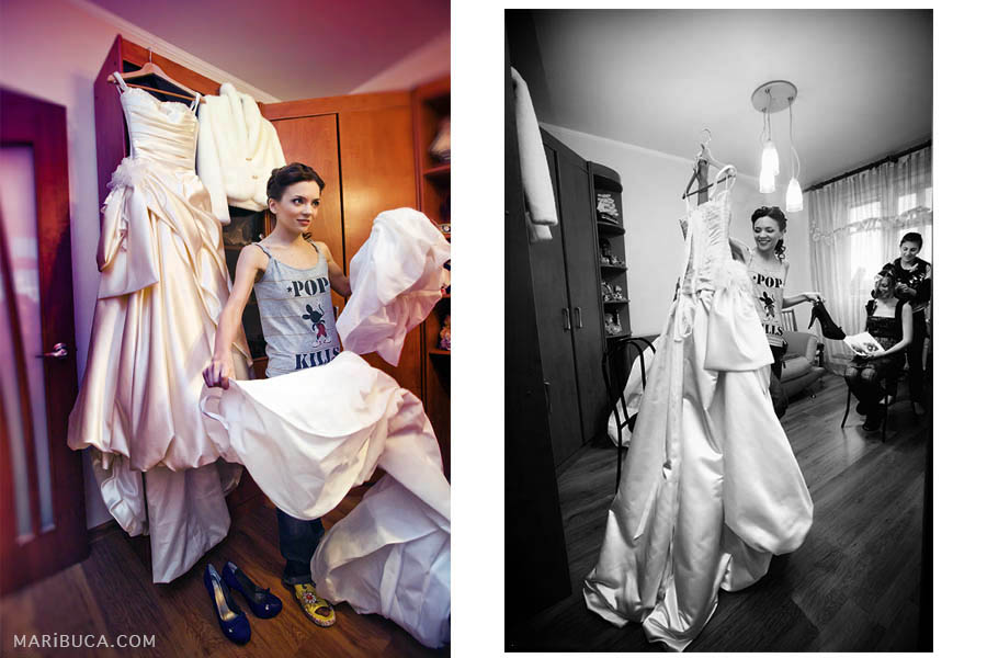 bride is getting ready at home and shows off her wedding dress