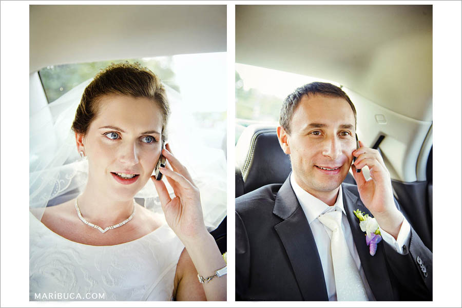 portrait of the bride and groom talk with friends and relatives in the car after marriage registration.