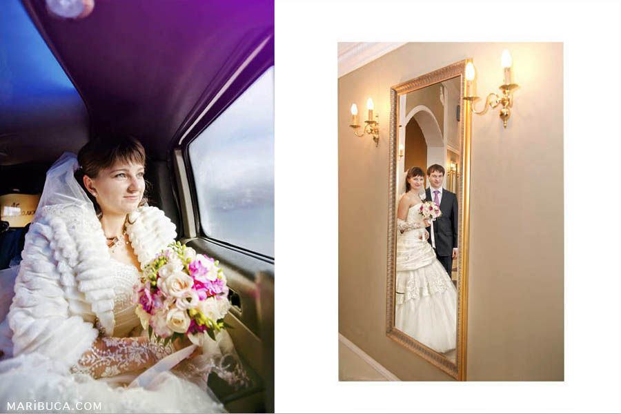 Portrait of a bride sitting in a limousine and looking out the window. Bride and groom are looking each other through the mirror in the register office.